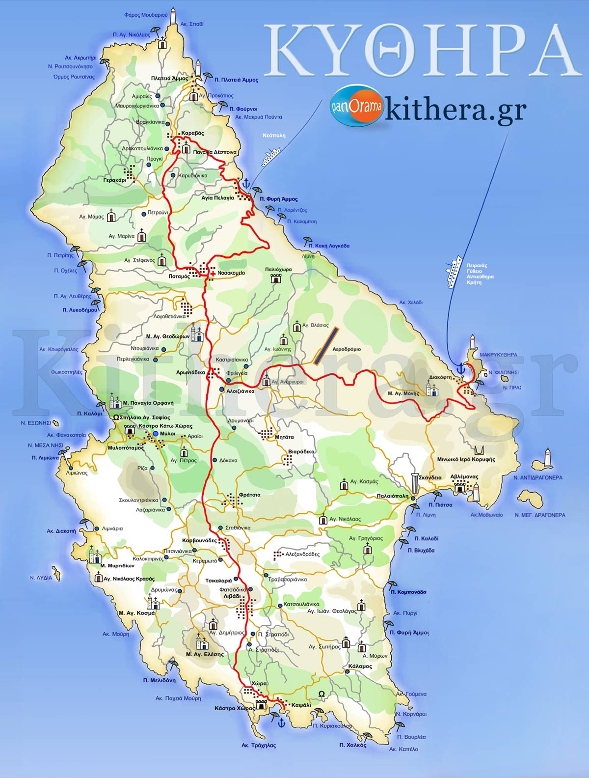 Map of Kythira Kythira Road Map